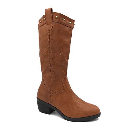 Angkorly - Dames schoenen laarzen - Santiags Cowboy - Western - Folk/Ethnisch - met klinknagels bezet - glitz blokhak 5,5 cm