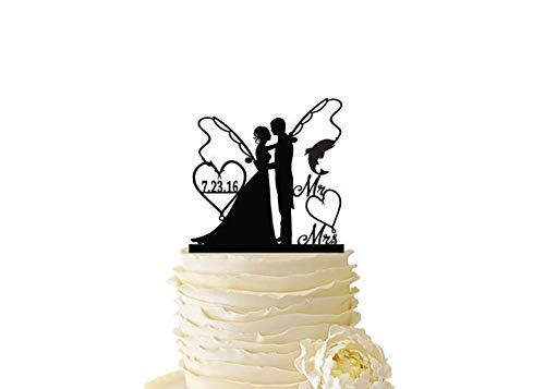 Mr. Mrs. mit Braut und Bräutigam Angelstangen mit Datum oder Initialen Standard Acryl Hochzeit Hochzeit Angeln Cake Topper 102