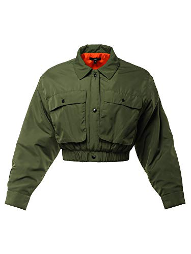 Cropped Front Two Pocket Snap Quilted Padding Bomber Jacket Olive S