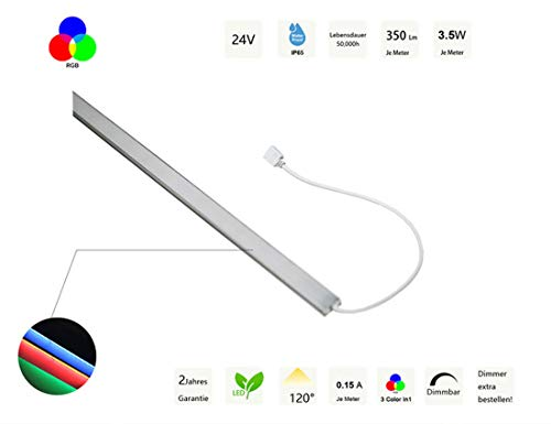 24V wasserfeste Aluminium LED Leiste outdoor – RGB/Warmweiss/Kaltweiss – 50cm-100cm – diffuse Abdeckung – IP65 (RGB, 100cm)