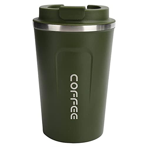 Taza de café, taza aislada portátil del coche a prueba de derrames de la textura mate para el viaje para el coche(verde)