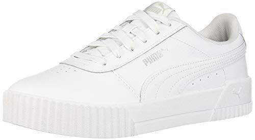 PUMA Women's Carina Sneaker, White White Silver, 7 M US