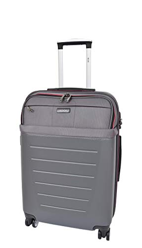 Medium Size Check-in Luggage 4 Wheel Hard Shell Lightweight Travel Trolley Suitcase Bag A166 Grey
