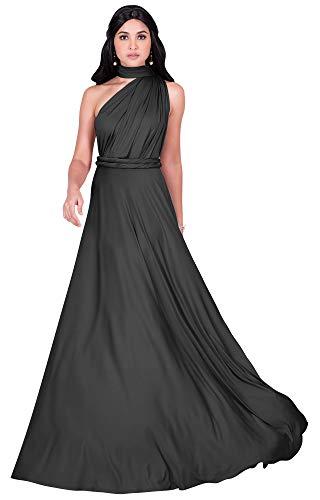 KOH KOH Langes Brautjungfernkleid für Damen, mit einer Schulter, wandelbares Cocktailkleid, Maxikleid - Grau - Groß