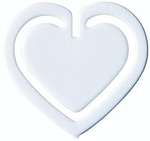 Laurel-Confezione da 100 graffette a forma di cuore, in polistirene, 30 mm, colore: bianco