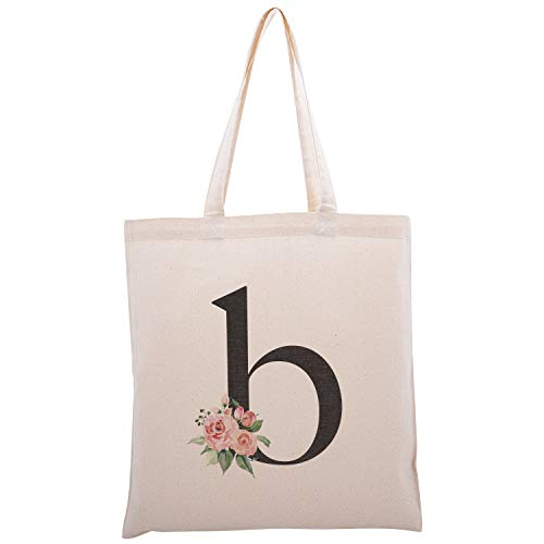 Personalized Floral Initial Cotton Canvas Tote Bag for Events Bachelorette Party Baby Shower Bridal Shower Bridesmaid Christmas Gift Bag | Daily Use | Totes for Yoga, Pilates, Gym, Workout | Initial B