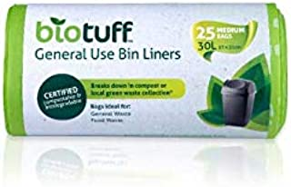 Biotuff Kitchen Tidy General Use Bin Bag Liners 25 Pack,  Medium, 25 count, Pack of 25