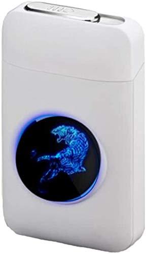 Cigarette Case with Lighter, LED Graphic Cigarette Case, 2-in-1 Portable Electronic Lighter Flameless Rechargeable Cigarette Box, Elegant Design Lighter Rechargeable, White (White) - LUOWAN010024