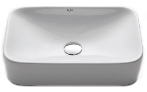 Kraus KCV-122-CH Ceramic Above counter Rectangular Bathroom Sink, 19.44 x 11.84 x 5 inches, Chrome/White