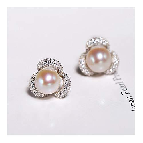 OUMIFA Pendientes de Perlas 7-8 mm Pendientes de Perlas de Agua Dulce Brillantes seleccionadas para Novia S925 diseño de circonio de Plata Pendientes de Perlas de Agua Dulce