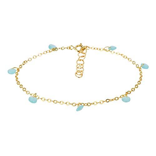 Córdoba Jewels   Pulsera en Plata de Ley 925 bañada en Oro con Piedra semipreciosa y Esmalte diseño Charms Aguamarina Gold