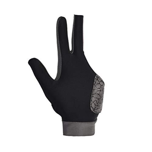 Milisten Billardhandschuh 3 Finger Zeigen Pool Queue Handschuhe Elastisches Lycra 3 Finger Zeigen Handschuhe für Billardschützen Carom Pool Snooker - Größe L (Schwarz)