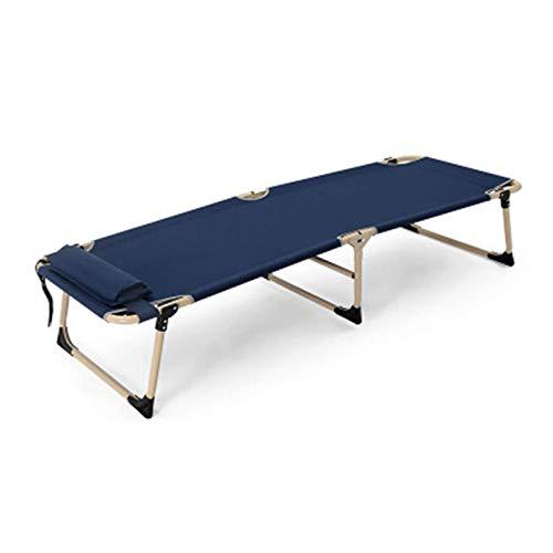 N/Z Campingausrüstung Campingbett Tragbares Klappcampingbett Kinderbett Liegestuhl Belastung 150 kg Für Patio Garden Beach Pool Zelt zum Angeln Camping (Farbe: Blau Größe: 180x62x30cm)