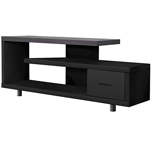 Monarch Specialties I STAND-60 L Grey TOP with 1 Drawer TV STAND, Black -  I 2575