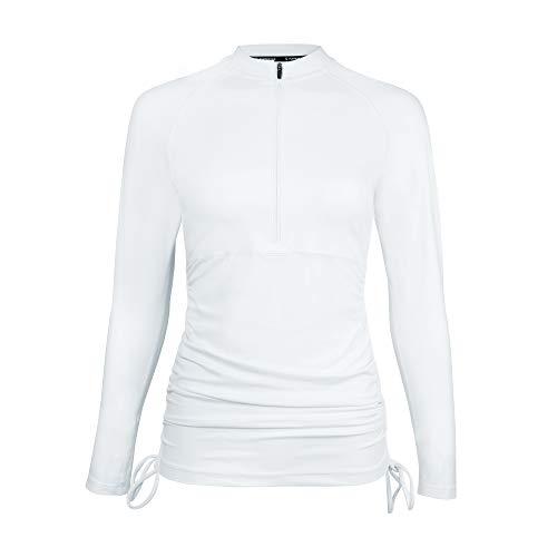 Platinum Sun Womens Long Sleeve Rashguard Shirt Color Block Print Tankini Swimsuit UPF 50 (White, S)