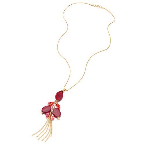 iMECTALII Elegante Oro Lunga Catena Statement Collana con Rosso Perlina Perla Cristallo Nappa Pendente, Abito da Sera Festa