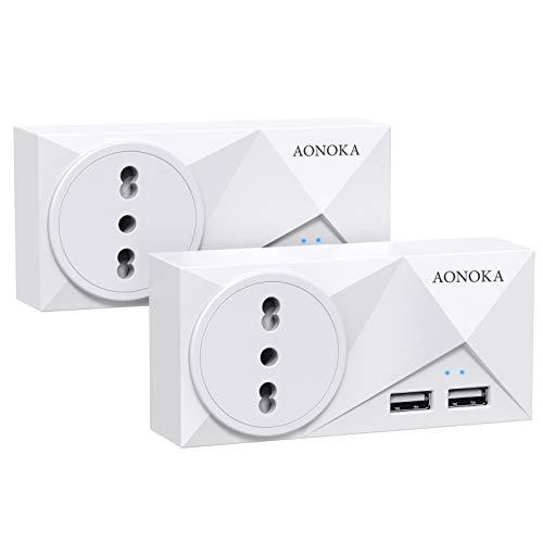 Tomas USB multitomas, con 1 tomas italianas, enchufe Schuko de 16 A/4000 W y 2 puertos USB (2,4 A) multitomas, toma USB a pared, cargador, toma múltiple, distribuidor multienchufe