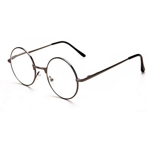 Reading glasses Runder Rahmen Lesebrille, Weitsichtigkeit Spiegel, Metallrahmen + Transparente Harzlinse + Federscharnier, Geeignet FüR Damen Und Herren-Lesebrille, Retro-Design