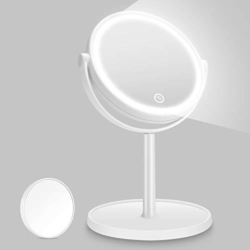 Kasimir Espejo Maquillaje con Luz LED Aumento 5X Espejo de Maquillaje Táctil Ultra Alta Definición Profesional Espejo Cosmético Plegable Espejos - Rotación Ajustable de 360°Blanco