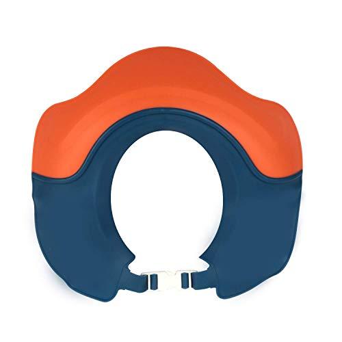 Safe Shampoo Shower Bathing Protection Bath Cap Soft Adjustable Visor Hat for Toddler, Baby, Kids, Children (Coral Red)