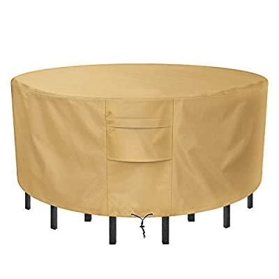 Sunkorto Round Patio Table & Chair Set Cover, Waterproof & Wear-Resistant Patio Furniture Cover, 94 inch Diameter, Light Brown