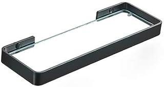 Slizone Aparador Esquina de la Pared Negra Estante de Vidrio Cuarto de baño Colgante montado en la Pared Estantes de palet...