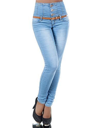 Damen Jeans Hose Corsage Damenjeans High Waist Röhrenjeans Hochbund N207
