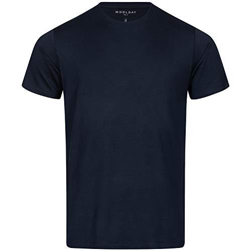 Woolday I Merino T-Shirt Herren Rundhals aus 100%, superfeiner Merinowolle I Stoff aus Deutschland, genäht in Portugal I Navy Blau I M