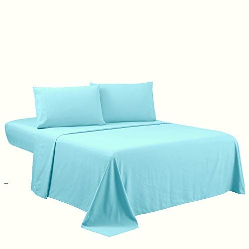 Sfoothome Queen Sheets Set - Sky Blue Hotel Luxury 4-Piece...