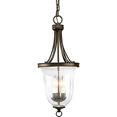 Progress Lighting P3753-09 3-Light Foyer Pendant with Clear Seeded Glass