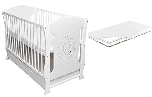 Rundum Cuna para bebé (24 unidades, 120 x 60 cm, incluye cajón, colchón de espuma de coco, trigo sarraceno