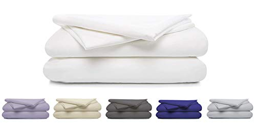 100% Cotton Percale Sheet Set, Soft & Crisp 4 Piece Set, 300 Thread Count Long Staple Combed Cotton, 16' Deep Pocket, Hotel Quality, Oeko-TEX Certified - Queen, White - by Boston Linen Co