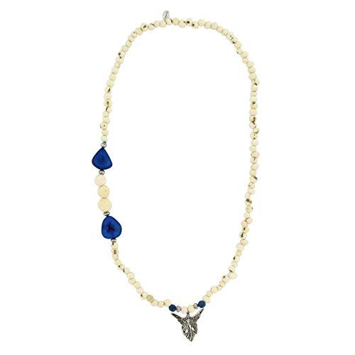 Sambaia: Halskette aus Acai und Paxiubao Samen, Jarina Scheibe, Engelanhänger, Original aus Brasilien Amazonas, Natur Material!