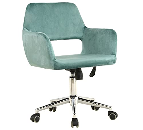 Home Office Chair Ergonomic,WISOICE Swivel Chair with Arms Wheels Height Adjustable Comfortable Chair for Home Office Living Room Study Room Bedroom - Mint Green