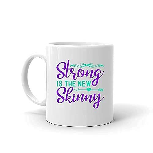 Taza divertida fuerte es el nuevo Skinny Fitness Gym Workout Presente de cita para el cuidado de la salud Taza de café de cerámica con capacidad de 11 onzas