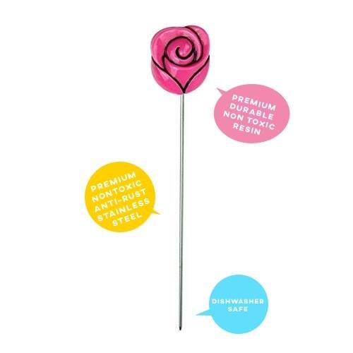 Happy Sales HSCT-RD1, 1PC Cake Tester Skewer Baking Cooking Tool Rose Design