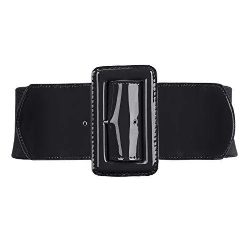 Cintura In Vita Con Fibbia Elastica Donne Moda PU Ampia Costume Decorazione Accessori M Nero