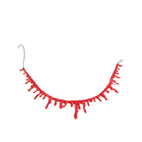 Jingy Halloween Props Film and Television Makeup Filming COS Dress up Simulation Bleeding Necklace Demon Nurse Horror Ornaments Bloody Cut Fake Blood Marks Gothic Vampire Cut Throat Neck Collar Item