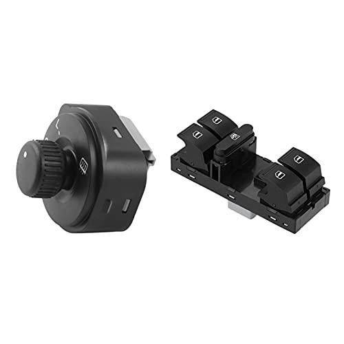 ZHENGYI 1 PCS Interruptor de Control, Interruptor de Control de Espejo de ala y Levantador de Vidrio Delantero Izquierdo, Interruptor de la Ventana eléctrica Adecuado para Skoda Fabia
