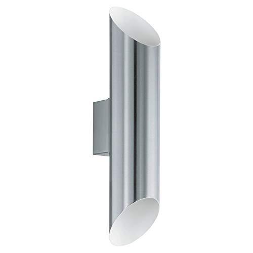 EGLO LED Außen-Wandlampe Agolada, 2 flammige Außenleuchte, Wandleuchte aus Edelstahl, Farbe: Edelstahl, weiß, IP44