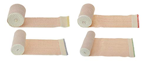 Dealmed Elastic Bandage Wrap with Self-Closure 4 Roll Variety Pack, Comfort Compression Roll, 4.5 Yards Stretched (1 Roll Each 2', 3', 4', and 6')
