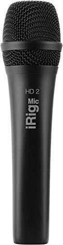 IK Multimedia iRig Mic HD 2 - Micrófono de Condensador Digital, Grabación de Audio Móvil iPhone, iPad y Mac/PC, Negro