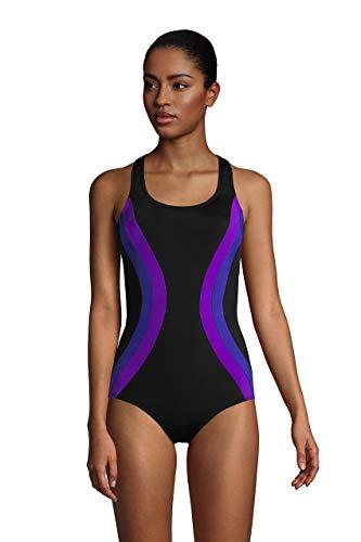 Lands' End Womens Chlorine Resistant Scoopneck One Piece Swimsuit Black/Purple Grape Long Torso