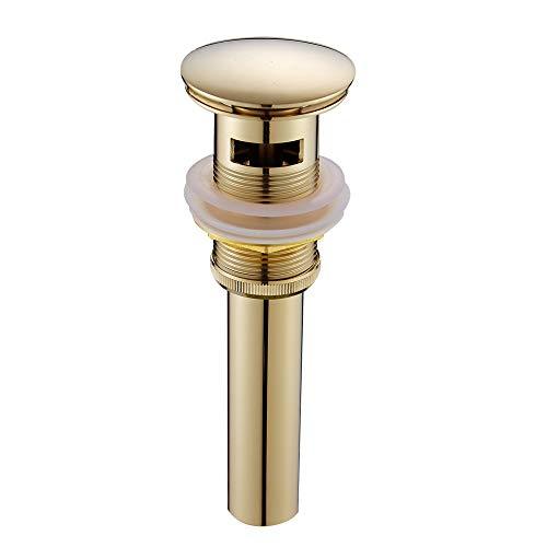 CASEWIND Luxus Pop Up Ventil Funktion Ablaufgarnitur mit Überlauf für Waschbecken besteht aus Messing und Edelstahl Poliert Gold finished Oberfläche Rostfrei