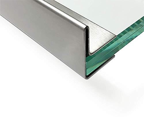 Edelstahl Glasdach-Regenrinne 13mm für ESG-Glas 12mm oder VSG Glas 12,52mm, 1.4301 aussen Schliff K320 Länge 2000 mm mit Abschlusswinkel