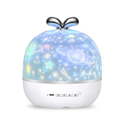 KASTEWILL Sternenhimmel Projektor Lampe, 360°Drehbare Baby Nachtlicht LED Sternenprojektor Licht 6 Thema Szene 6 Modi Licht für Kinderzimmer Geburtstag Party Schlafzimmer Weihnachten Hochzeit