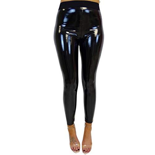 SHOBDW Mujeres Dama elástica Brillante Cintura Alta Gimnasio Deporte Correr Fitness Leggings Medias Pantalones de Entrenamiento Pantalones Pantalones de Yoga Pantalones Deportivos(Negro,XL)