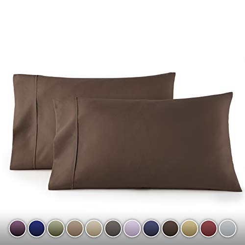HC COLLECTION 1500 Thread Count Egyptian Quality 2pc Set of Pillow Cases, Silky Soft & Wrinkle Free SIZES-King Size, Chocolate Brown