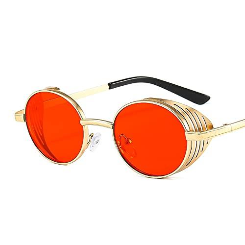 HAOMAO Antirreflectante Steampunk Metal Uv400 Espejo Gradient Shades Gafas de sol redondas para hombres y mujeres Oro Rojo
