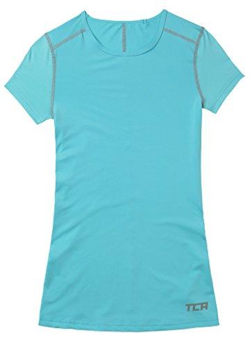 TCA Superthermal Quickdry Damen Laufshirt/Funktionsshirt mit Rundhalsausschnitt – Hellblau, XL - 4